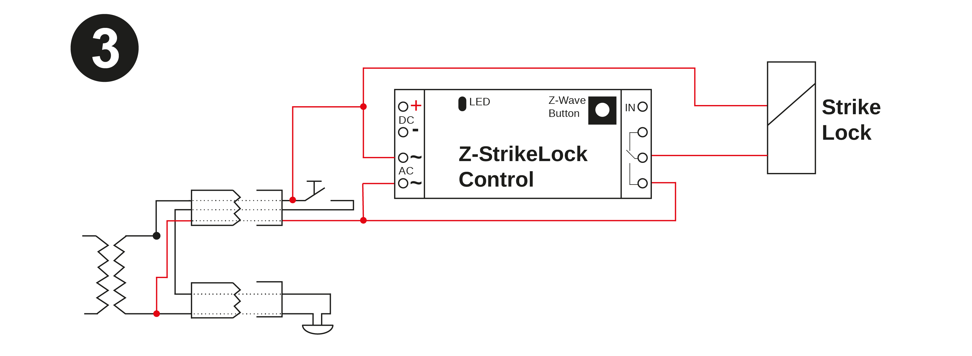 The image below shows how to change this existng cabling to power the  strike lock in parallel.
